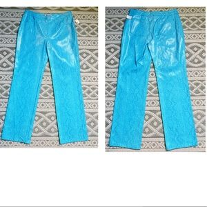 NWT VTG EMBOSSED WET LOOK BLUE SNAKE FAUX LEATHER